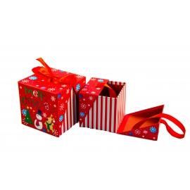 Набір кубічних новорічних коробок для подарунків з 2 шт W7847 Червоні