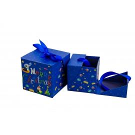 Набір кубічних новорічних коробок для подарунків з 2 шт W7849 Синя