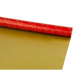 Папір новорічний двосторонній 0,7м*10ярд «Золоті зірки» на червоному