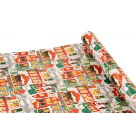 """Папір крейдований новорічний 0,7м*10ярд """"Різдвяне місто"""""""