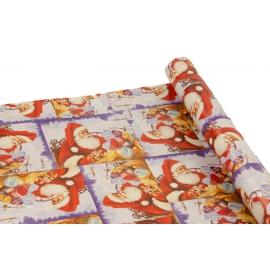 """Папір крейдований новорічний 0,7м*10ярд """"Дід Мороз в санях"""""""