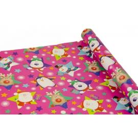 """Папір крейдований новорічний 0,7м*10ярд """"Новорічні звірі"""" на рожевому"""