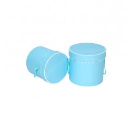 Набір круглих коробок для квітів з 2 шт T2PSBBT блакитні