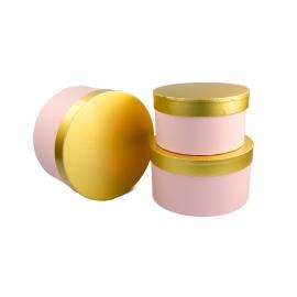 Набір тубусів із золотою кришкою рожеві 3 шт 144