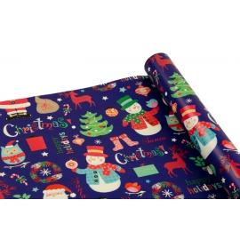 """Папір крейдований новорічний 0,7м*10ярд """"Санта Клаус"""" на синьому"""