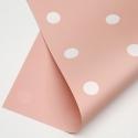 """Пленка матовая двухсторонняя """"ГОРОХ"""" в рулоне 0,6 х 8м P.XXY-116 Pink White"""
