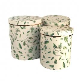 Набір круглих коробок для квітів з 3 шт 0809-5 Тропічне Листя