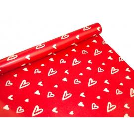 Бумага мелованная 0.7м Белые Сердца на Красном