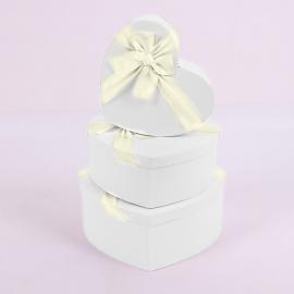 "Набор коробок ""Сердце"" 3365 с 3 шт 1002 Белые"