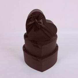"""Набор коробок """"Сердце"""" 3365 с 3 шт 1017 Шоколад"""