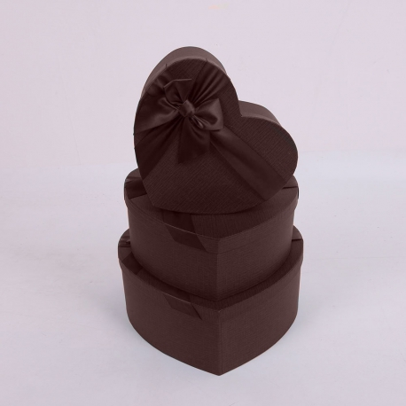 """Набір коробок """"Серце"""" 3365 з 3 шт 1017 Шоколад"""