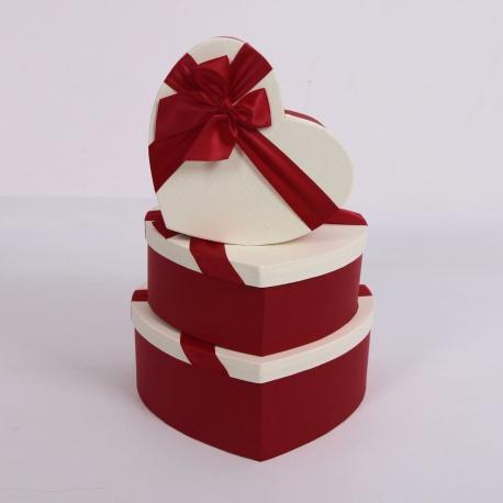 """Набор коробок """"Сердце"""" 3365 с 3 шт 1021 Бордо"""