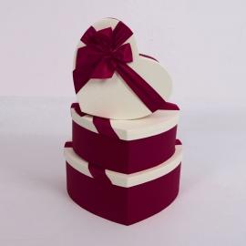 "Набір коробок ""Серце"" 3365 з 3 шт 1023 Марсала"