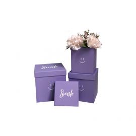 Набор кубических коробок с 3 шт W5289 Smile Фиолетовые