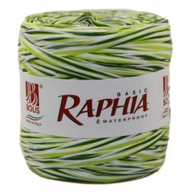 Рафія Італія 200m триколірна оливка+салат+білий