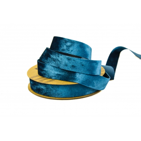 Лента бархатная 2,5см * 20ярд DX-0628-016 Синяя
