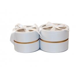 Набір круглих сатинлових коробок з прозорим верхом з 2 шт W5189 Білі