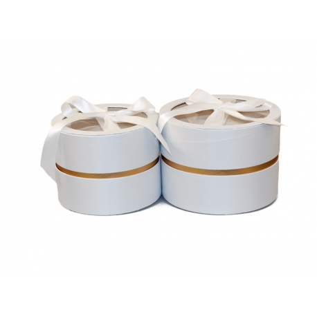 Set of round satin boxes with transparent top with 2 pieces W5189 White