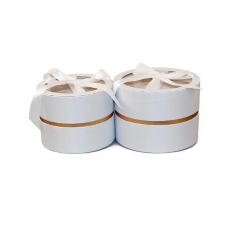 Набор круглых сатинлових коробок с прозрачным верхом из 2 шт W5189 Белые