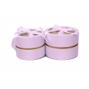 Set of round satin boxes with a transparent top with 2 pieces W5190 Pink