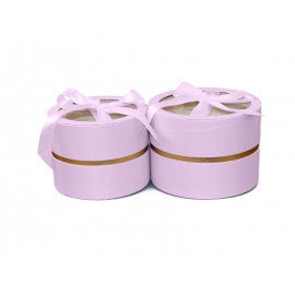 Набір круглих сатинлових коробок з прозорим верхом з 2 шт W5190 Рожеві