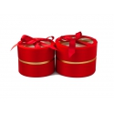 Set of round satin boxes with a transparent top with 2 pieces W5191 Red
