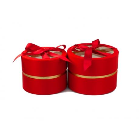 Набір круглих сатинлових коробок з прозорим верхом з 2 шт W5191 Червоні