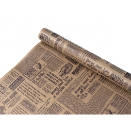 """Папір Крафт 0,7х8м """"Газета NEW"""" коричневим"""