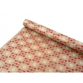 "Kraft paper 0,7х8m ""Heart"" red + white"