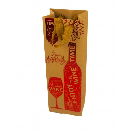 Пакет паперовий для вина LT-301 Enjoy with Wine Time червоний