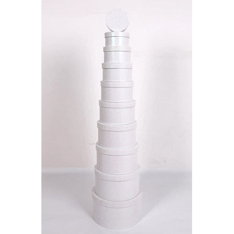 Набор круглых коробок 814-SJ-SF100g-35 с 10 шт Белые с Блестками