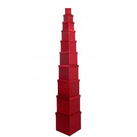 Набор кубических коробок 601- HS-95-SD301 с 10 шт Красные