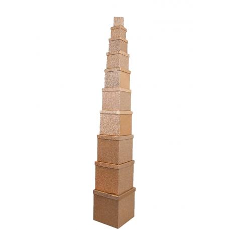 Набор кубических коробок 601-SJ-SF100g-41 с 10 шт Золото с Блестками