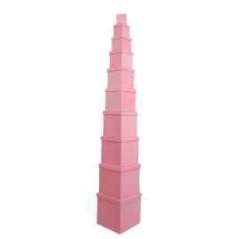 Набір кубічних коробок 601- SJ-SF100g-36 з 10 шт Рожеві з Блискітками