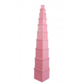 Set of cube boxes 601- SJ-SF100g-36 with 10 pieces pink with Glitter
