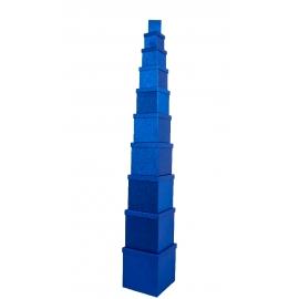 Набір кубічних коробок 601- SJ-SF100g-48 з 10 шт Сині з Блискітками