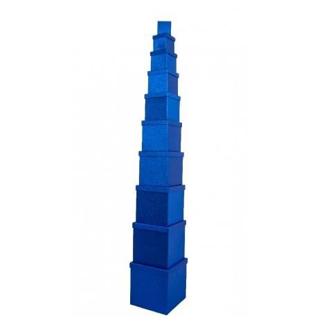 Set of cube boxes 601- SJ-SF100g-48 with 10 pcs Blue with Glitter