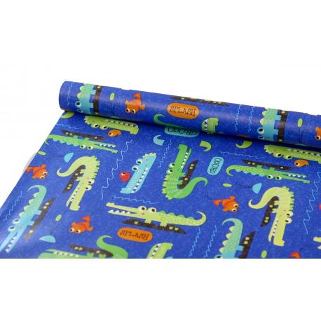 Бумага 0.7м x 10 ярдов Крокодил на синем