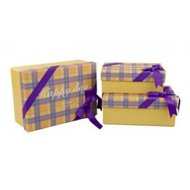 Набор коробок в клетку с 3 шт 300-12 Желтые