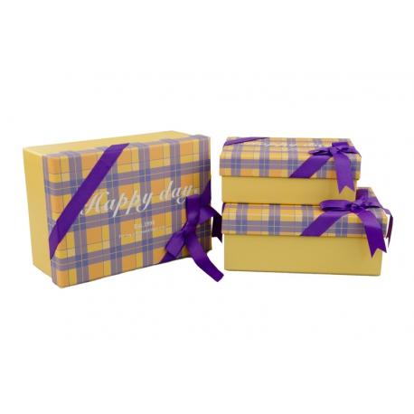 Набір коробок в клітинку з 3 шт 300-12 Жовті