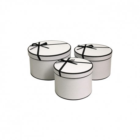 Набор круглых коробок с черным бантиком W5438 Белые
