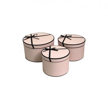 Набор круглых коробок с черным бантиком W5439 Розовые