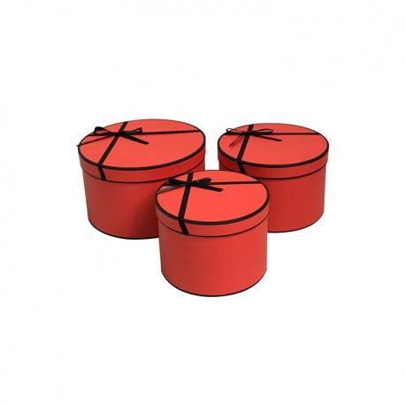 Набор круглых коробок с черным бантиком W5440 Красные