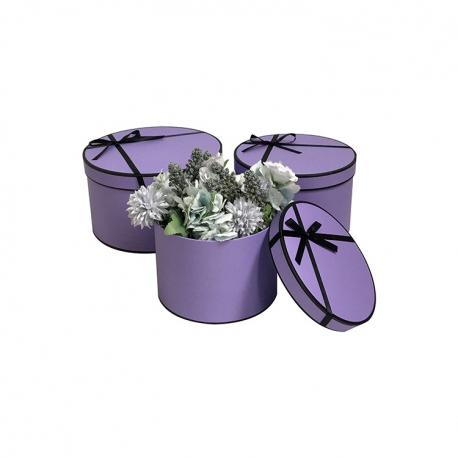 Set of round boxes with a black bow W5441 Purple
