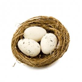 Пасхальные яйца в гнезде 3 шт белые