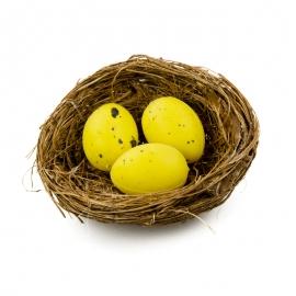 Пасхальные яйца в гнезде 3 шт желтые