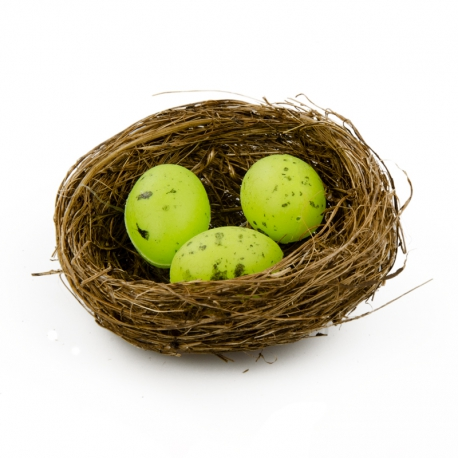 Easter eggs in a nest of 3 pieces of greenery