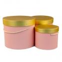 Набор коробок с золотой крышкой 3 шт. 3390-1532 Розовые