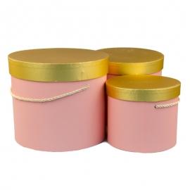 Набір коробок з золотою кришкою 3 шт. 3390-1532 Рожеві