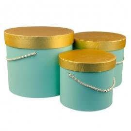Набор коробок с золотой крышкой 3 шт. 3390-1533 Бирюзовые